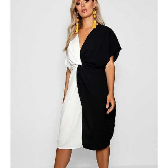 Boohoo Plus Dresses & Skirts - Black and white twist front dress size 18